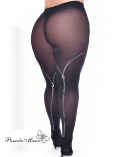 Collant fantaisie effet Zipgrande taille