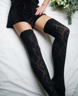 Chaussettes hautes noires Mila fantaisie de Vog Store