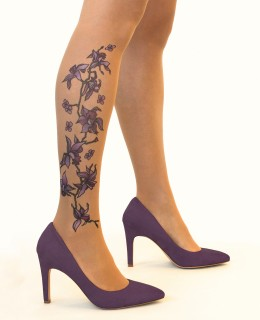 Collant Tatouage Purple Orchids
